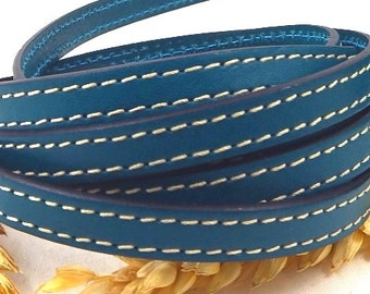 Ultramarine blue flat leather with stitching high quality 10mm by 20cm