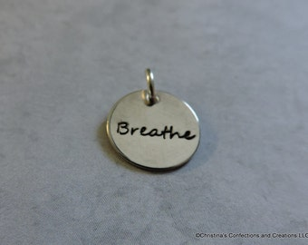 "Hand Stamped ""Breathe"" word charm or build your own Necklace (#1921)"
