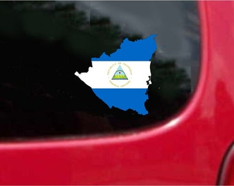 2 Pieces Nicaragua Outline Map Flag Vinyl Decals Stickers Full Color/Weather Proof. U.S.A Free Shipping