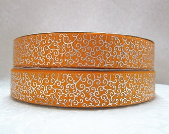 7/8 inch DELICATE SILVER SWIRLS On Orange  -  Printed Grosgrain Ribbon for Hair Bow
