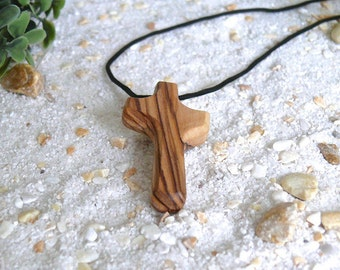 Necklace pendant cross made of olive wood
