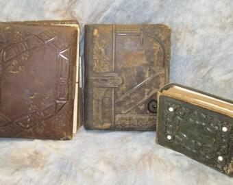 3 Empty Antique Leather Art Deco Photo Albums Art Crafts Supplies Material c