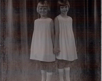 Lot 3 Glass Negatives Slides Antique Photo Photography Twin Girls Holding Hands