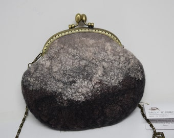 Brown purse clutch hand bag cross body bag evening after five purse Australian Merino wool felt with hand dyed silk detail 11621