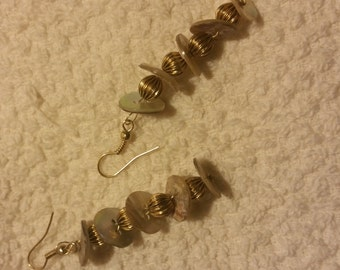 Gold Beads & Shell Button Dangle Earrings