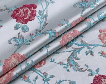 0.5 meter width 57.08 inches brocade fabric,golden thread brocade fabric,jacquard crafts fabric,for dress material,Floral fabric(150-46)