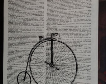 Dictionary Art Print, Vintage Dictionary Art, Vintage Dictionary Print, Vintage Illustration, Bicycle Print, Vintage Bicycle Print