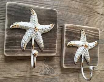 Coastal Reclaimed Distressed Starfish Hooks-Coastal Hooks-Starfish-Coat Hook-Key Hook-Dog Lease Hook-Hat Hook-Towel Hook-Wall Decor-Set of 2