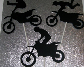 Hand Crafted 3 Dirt Bike cake toppers or centerpieces (237C)
