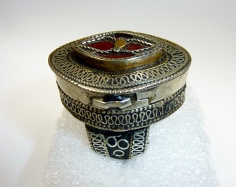 Old Turkmen Tribalring with Red Glasstone and Box to Open, US Size 9 - 9 1/2
