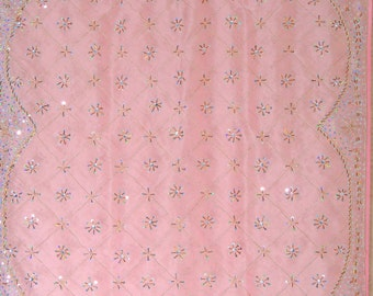 """Sheer Curtain Panel - Pink Unique Hand Beaded Zardozi Embroidery Organza Fabric Exclusive Window Treatments Panel 92"""" - NH16707"""