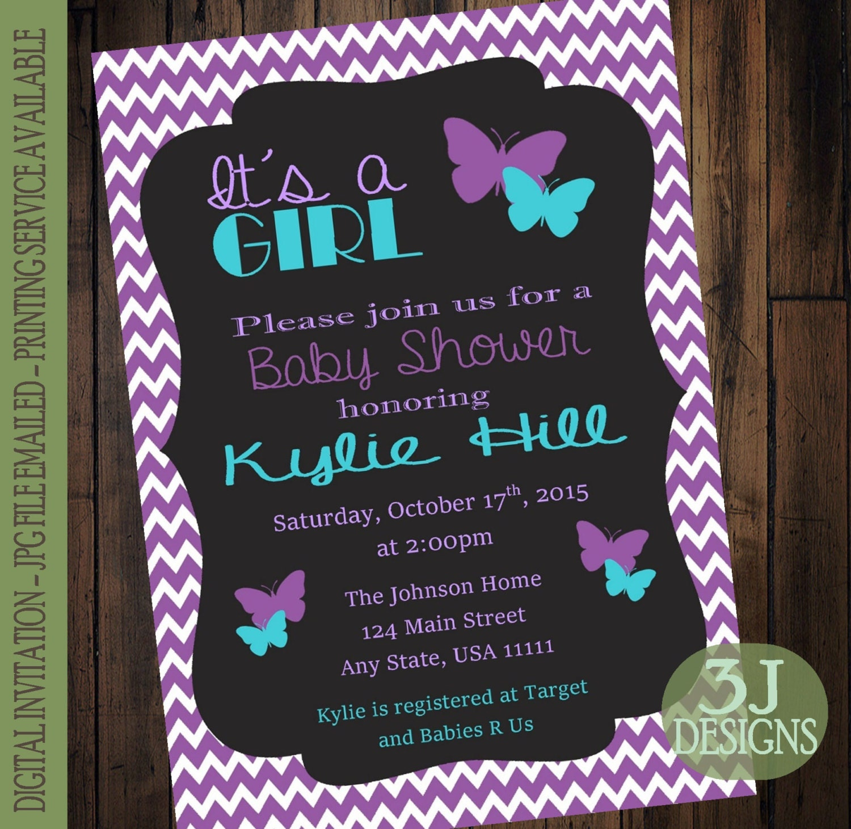 purple teal butterfly baby shower invitation digital jpg