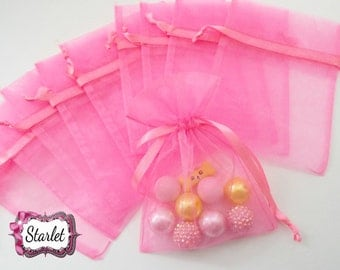 Neon Pink Organza Gift Bags