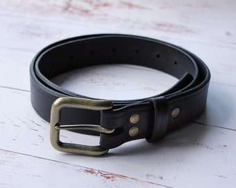 "Black Handmade Leather Belt 1"" 1/4"