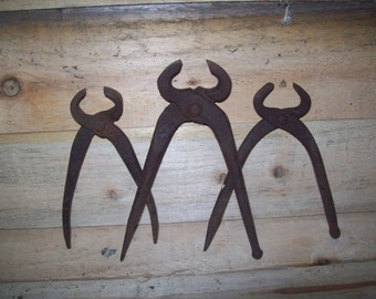 3 Vintage Pincers 2 with Ball & Claw handle ends
