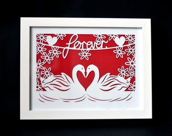 Framed laser cut paper cut 'Forever' swans valentines love print 18 x 24cm