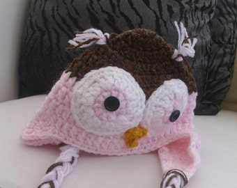 Baby's Pink Owl Crocheted Hat