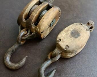 Vintage Pulleys, Barn Pulleys, Industrial Wood and Iron Pulleys, Pulleys with Hook, Rustic Barn Pulleys, Set of 2 One Price.