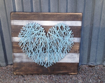 Aqua Heart String Art