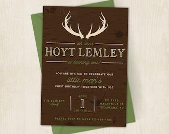 Oh Deer - Camo Birthday - Invitation - Invite - Camouflage Birthday - Deer Antlers - Little Man - Brown & Green - Digital/Printable Invite