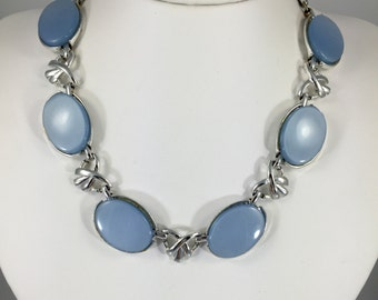 "Coro Pastel Blue Moonglow Necklace - Vintage 50s, Lucite, Thermoset, Plastic Link Necklace 16.25"" Long"