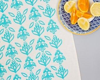 Floral Aqua Tea Towel