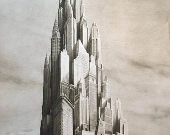 "Jan Peter Tripp ""American Dream"" limited edition New York skyscrapers Etching"