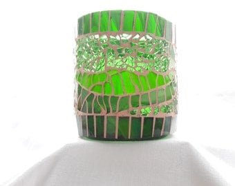 Mosaic candleholder,  from recycled winebottle nr. 256