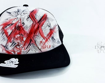 DxE - Acrylic and Ink on Mesh Hat