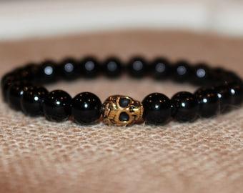 Mens Skull Bracelet, Gold Skull, Black Jade, Stretch, Skulls