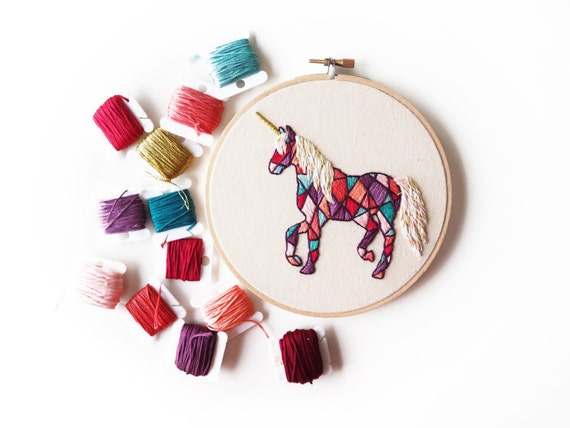 Geometric unicorn embroidery hoop by alexsembroidery on etsy