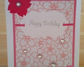 Mixed Media and Letterpress Happy Birthday card | Pink Floral background | Décor with Die-Cut Paper Flower | Hot Pink Ribbon