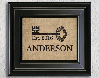 new home house warming gift with key sign personalized housewarming gift new home burlap - Personalized Home Decor