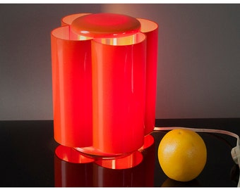 Vintage Mid Century Modern Lamp, Vintage 1970's LAMPERTI Orange Mod Lamp, Vintage Italian Design Lamp Casati & Ponzio