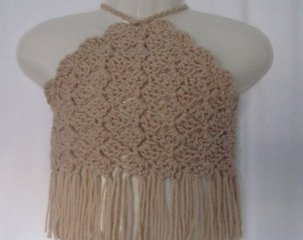 Crocheted Halter Top - C2C Style with Fringe