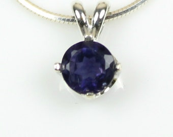 Iolite Necklace Sterling Silver Iolite Pendant Blue Violet Natural Gemstone Jewelry 925 6mm Round Faceted September Birthday Gift Idea