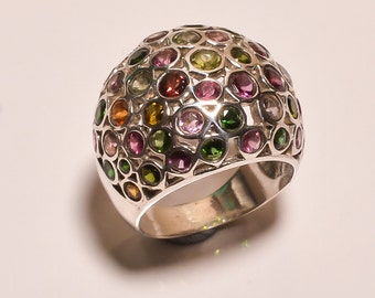 925 Solid Sterling Silver Ring Multi Tourmaline  (EHB)