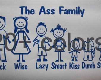 Ass Family Stick Figure Vinyl Window Decal/Sticker *Available in 24 Colors*