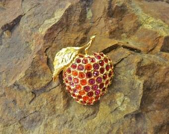 Vintage Audrey Jones 1990s Rhinestone Apple Brooch - Vintage Goldtone Brooch - Vintage Jewelry- Vintage Costume Jewelry -Vintage Pin