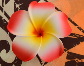 Red-Orange  Plumeria Hair Flower Clip; Hawaiian Hair Flower, Flower Gift, Hair Accessories, Gift for Her, Foam Hair Flower.