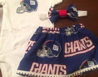 New York giants baby girl outfit with headband