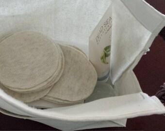 Cotton Eco friendly,Reusable bag, reusable food bag, Velcro zippered, 100% cotton, back to school