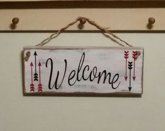 Hand painted WELCOME sign, home decor.