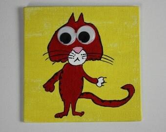 Google-Eyed Cat Painting