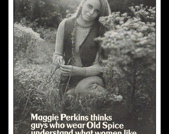 """Vintage Print Ad December 1969 : Old Spice Maggie Perkins Sexy Girl Advertisement B&W Wall Art Decor 8.5"""" x 11"""""""