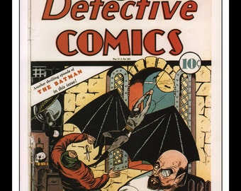 "Vintage Print Ad Comic Book Cover : Batman Detective Comics #29 July 1939 Bob Kane Illustration Wall Art Decor 8.5"" x 11"""
