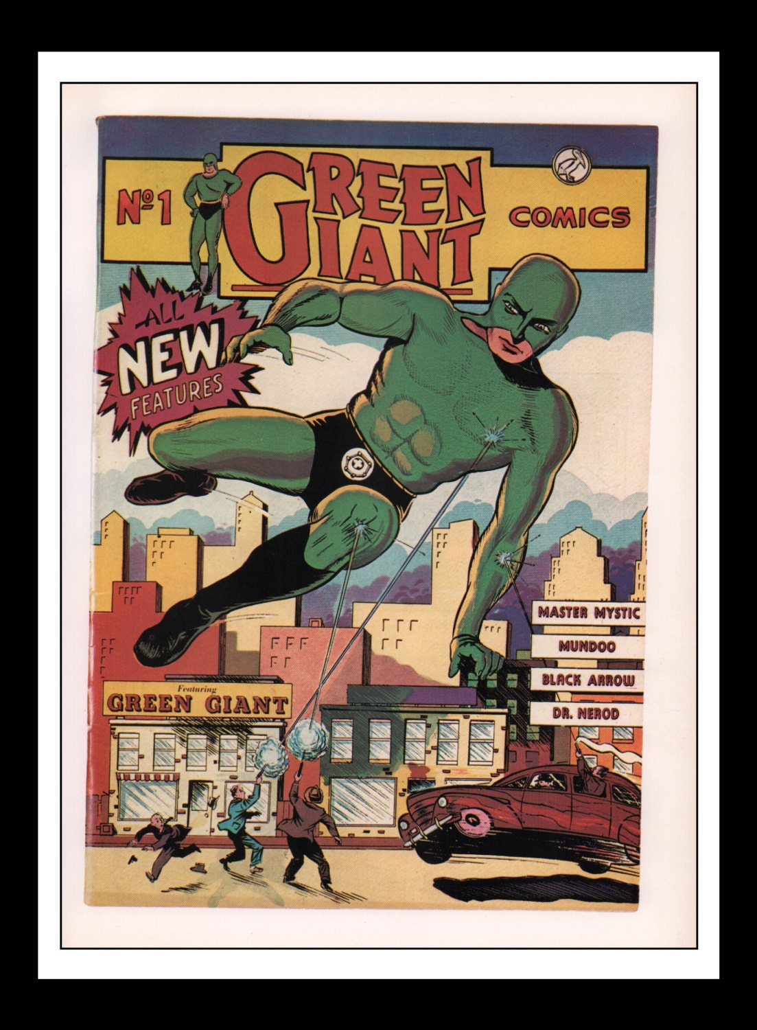 Classic Comic Book Cover Prints : Vintage print ad comic book cover green giant comics
