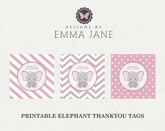 Printable Pink Elephant Birthday Thank You Tags, Party Printables, Instant Download, Elephant Party Decorations, 1st 2nd 3rd 4th Birthday