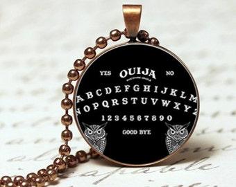 Black ouija board spiritual occult gothic pendant necklace