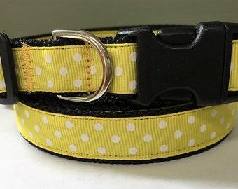 Dog Collar and Leash Set - Girl Dog Collar - Adjustable Dog Collar Yellow and White Polka Dots - small dog collar or big Dog Collar